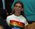 Woman with rainbow t shirt