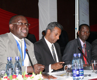 Leonard Okello of ActionAid, Salil Shetty, and Alloyce Orago of NACC during the official opening of the 2009 Citizens Summit