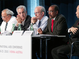 From left: Ambassador Eric Goosby, United States Global AIDS Coordinator; Professor Michel D. Kazatchkine; Executive Director, The Global Fund to Fight AIDS, TB and Malaria; Anthony Lake, Executive Director of UNICEF