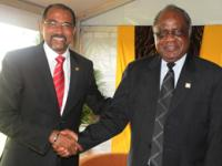 UNAIDS Executive Director, Mr Michel Sidibe (left) meeting the President of Namibia H.E. Hifikepunye Pohamba