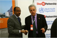 Michel Sidibé, UNAIDS Executive Director and Michel Kazatchkine, Executive Director of the Global Fund to fight AIDS,